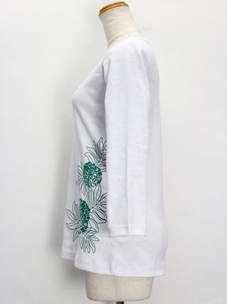 PUKANA 七分袖 ストレッチTシャツ ウル ホワイト