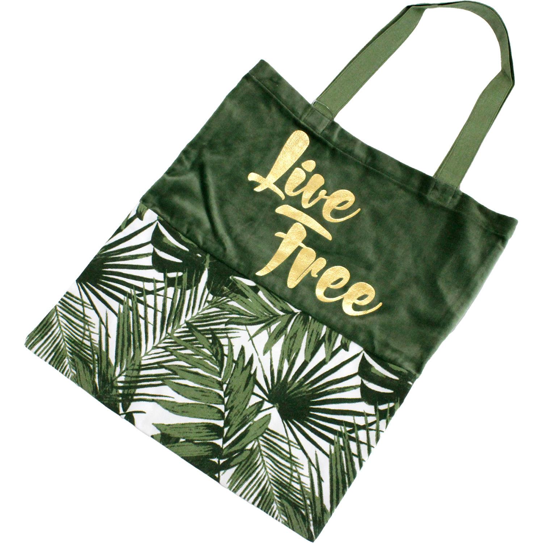 PUKANA ハワイアンベロア コンビキャンバストート LIVE FREEグリーン