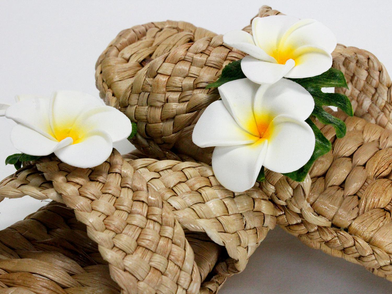 ハワイアン ラウハラサンダル ダブルプルメリア