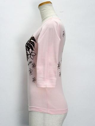 ララフラ 七分袖 ストレッチTシャツ モンステラ&プルメリア シャーベットピンク