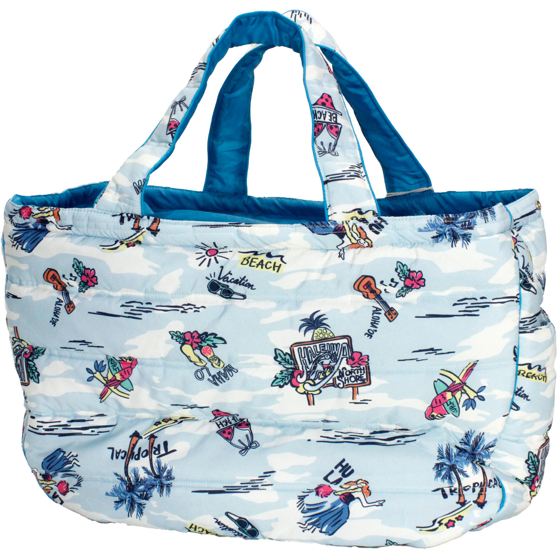 フララニ(Hula Lani)Lサイズトートバッグ アロハプリント ライトブルー