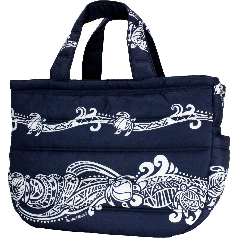 フララニ(Hula Lani)Lサイズトートバッグ タパホヌボーダー ネイビー