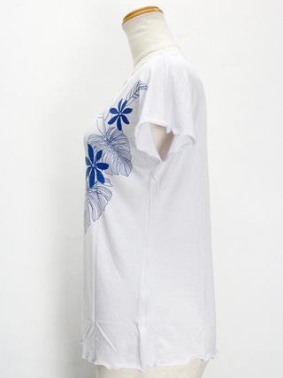 Lahaina ノースリーブストレッチTシャツ モンステラティアレ ブルーホワイト