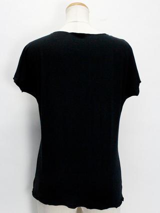 PUKANA ノースリーブストレッチTシャツ レイリーフブラック