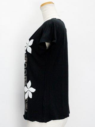 Lahaina ノースリーブストレッチTシャツ プルメリアカヒコ ブラック