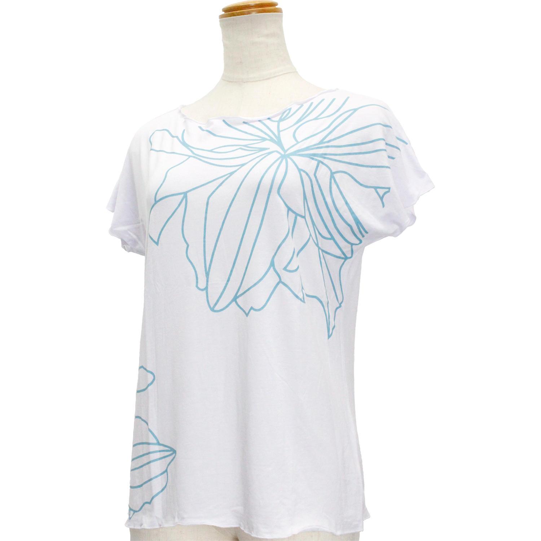 Lahaina ノースリーブストレッチTシャツ シェードライン ホワイト