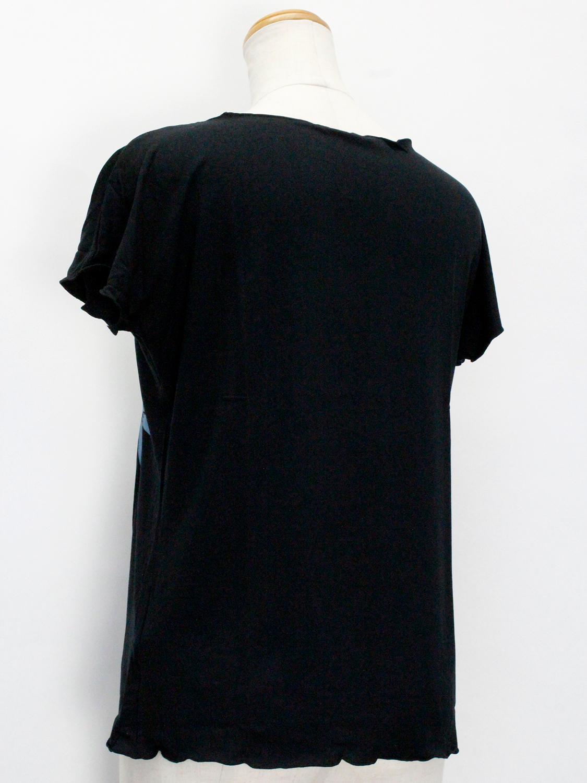 PUKANA ノースリーブストレッチTシャツ ビッグティアレ ブラック