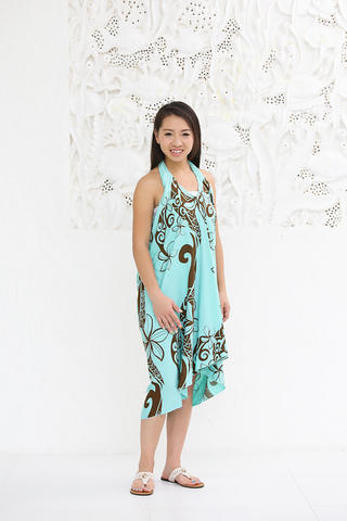 Lahaina 3wayイージーパレオスカート フローティングプルメリア ブラック