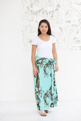 Lahaina 3wayイージーパレオスカート フローティングプルメリア エメラルド