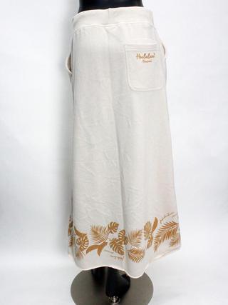 フララニ(Hula Lani HAWAII)裏毛プリントマキシスカート ホワイトベージュ
