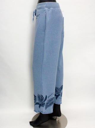 フララニ(Hula Lani HAWAII)裏毛プリントロングパンツ サックスブルー