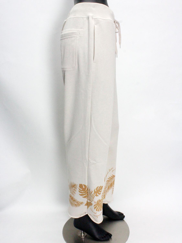 フララニ(Hula Lani HAWAII)裏毛プリントロングパンツ ホワイトベージュ
