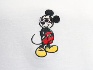 フララニ ミッキー刺繍Tシャツ サングラスミッキー ホワイト