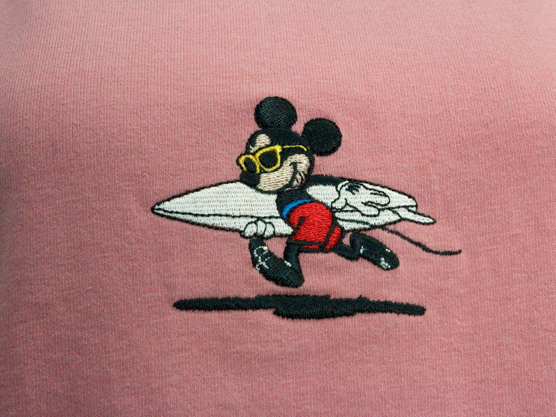 フララニ ミッキー刺繍Tシャツ サーフボードミッキー ピンク