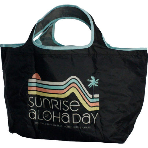 ハレイワ公式(HALEIWA)レジ買い物用カゴバッグ ALOHA DAY ブラック