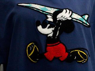 フララニ ミッキー サガラ刺繍&振り刺繍ワンピース サーフボードミッキー ネイビー