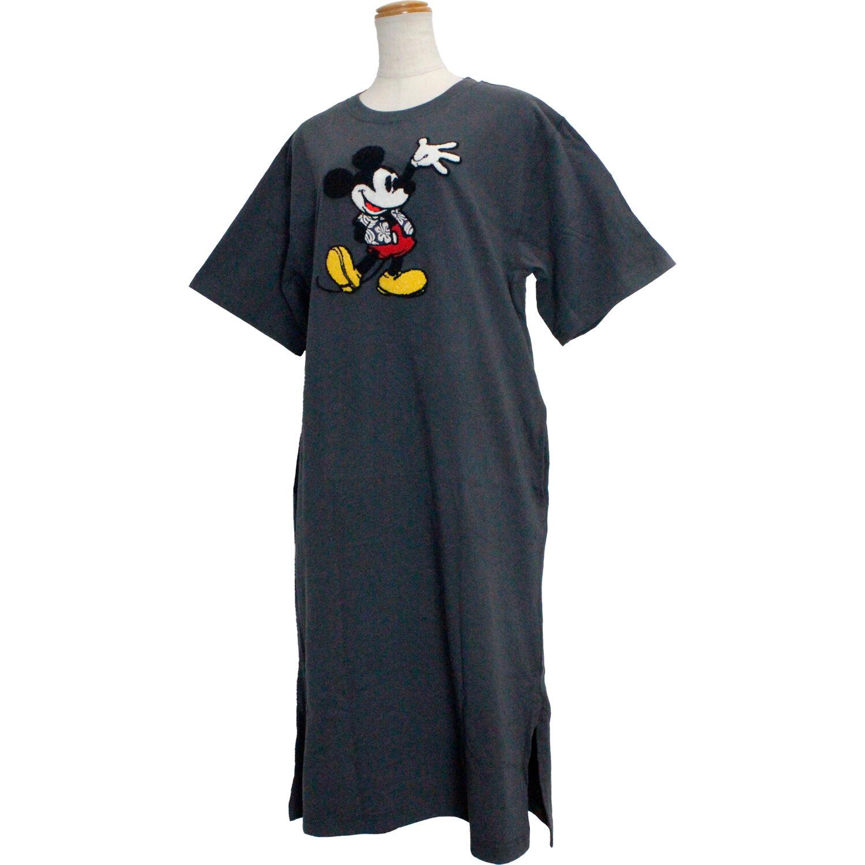 フララニ ミッキー サガラ刺繍&振り刺繍ワンピース ハワイアンミッキー チャコール