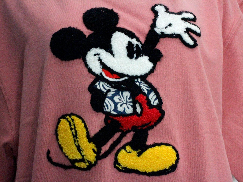 フララニ ミッキー サガラ刺繍&振り刺繍ワンピース ハワイアンミッキー アッシュピンク