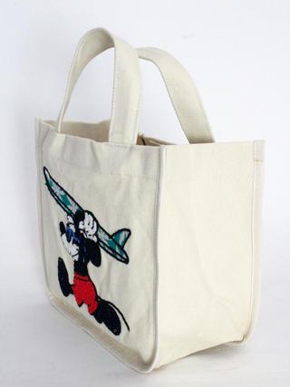 フララニ(Hula Lani)キャンバストートバッグ ディズニーコラボ サガラ&振り刺繍ミッキーマウス ホワイト