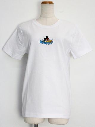 フララニ ミッキー刺繍Tシャツ ボーディングミッキー ホワイト