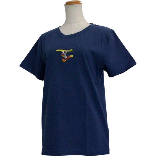 フララニ ミッキー刺繍Tシャツ ディズニーコラボ ドナルド ネイビー
