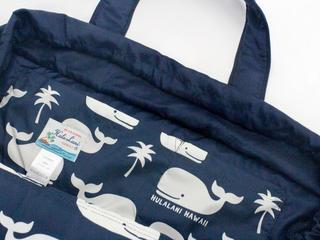 フララニ(Hula Lani)Lサイズトートバッグ ハワイアンホエールネイビー