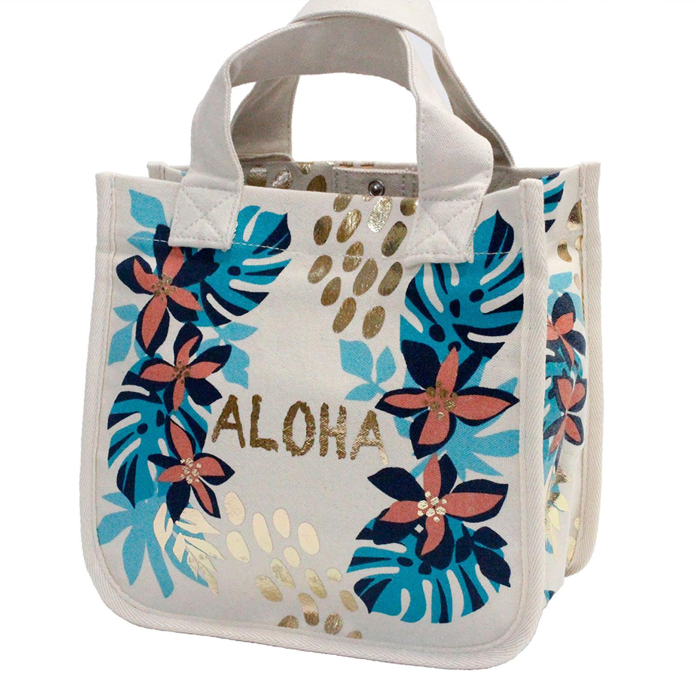 フララニ(Hula Lani)16oz帆布スクエアトートバッグ ALOHAホワイト