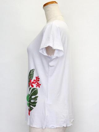 PUKANA ノースリーブストレッチTシャツ モンステラプルメリアホワイト