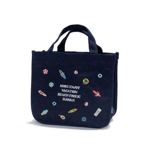 PUKANA 刺繍ミニトート2021 ビーチフロリックネイビー