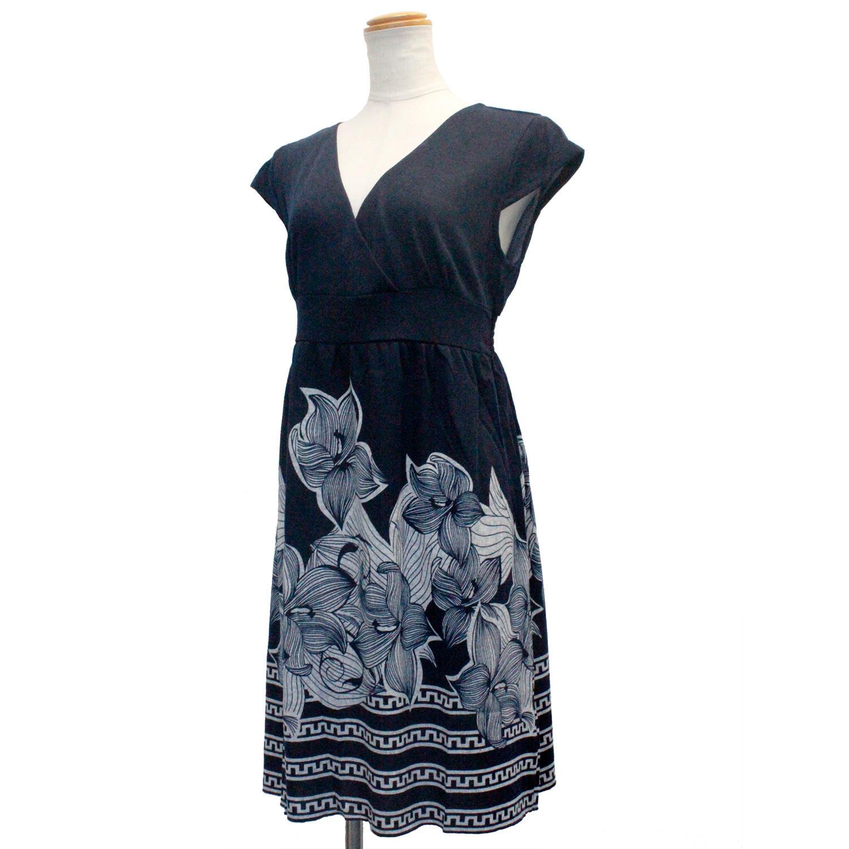 PUKANA ショート スタイリッシュVネックドレス ハワイアンフラワー ネイビー
