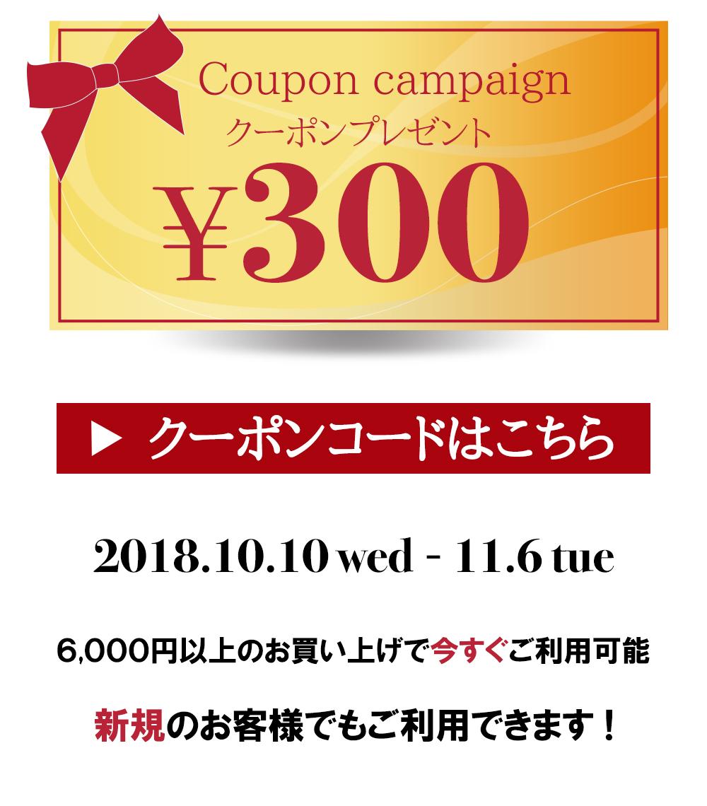 今スグ使える300円クーポン差しあげます♪