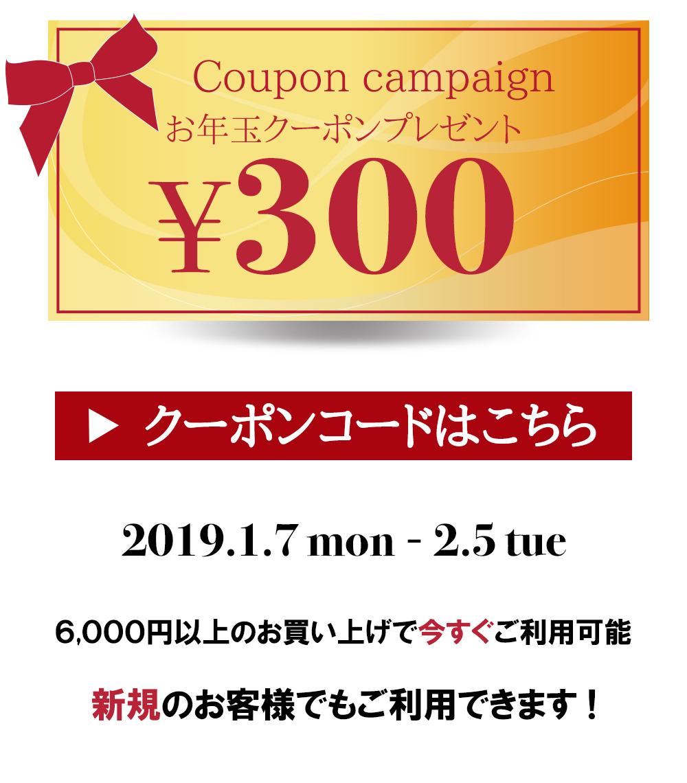 お年玉♪今スグ使える300円クーポン♪
