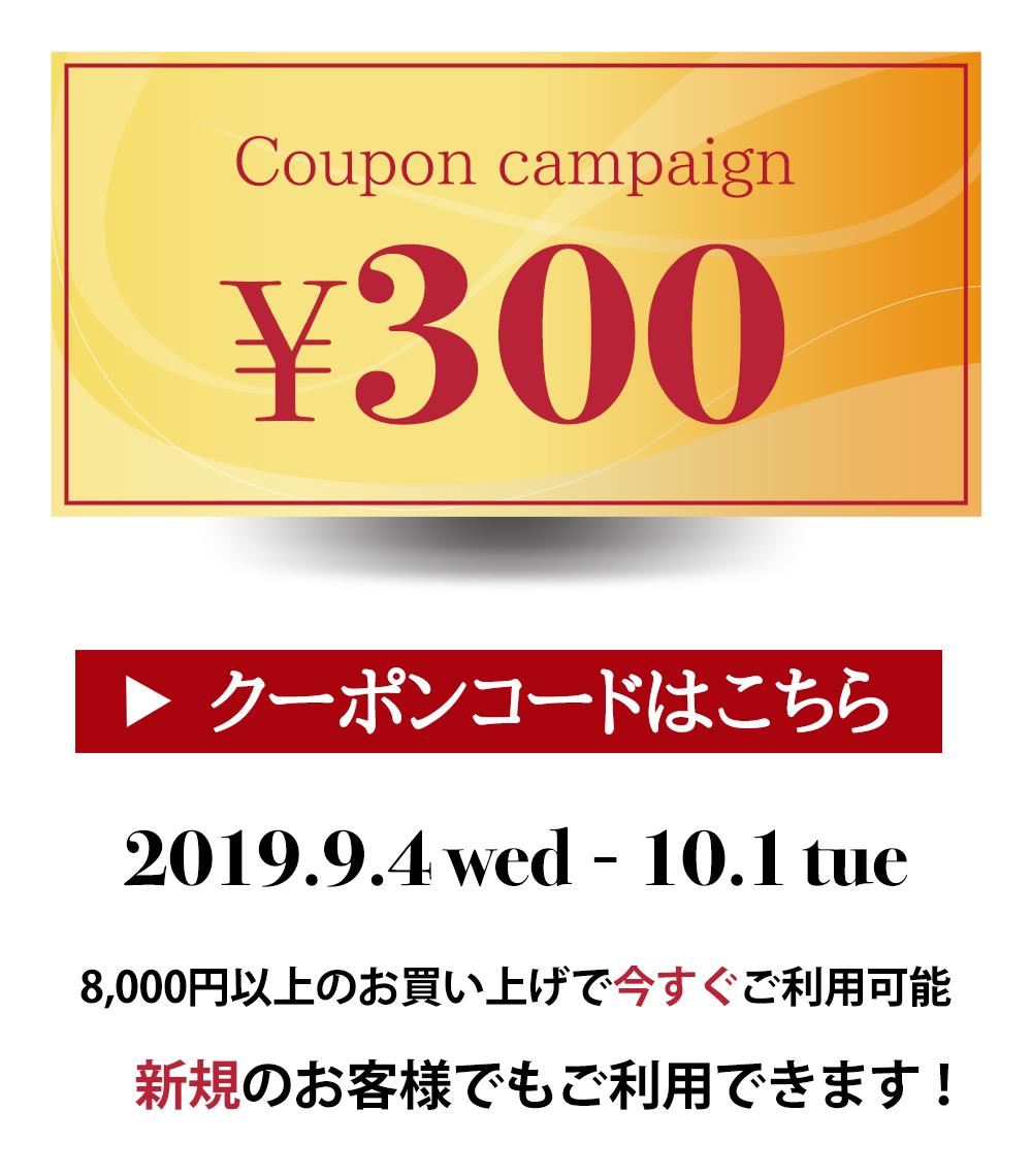 一挙プレゼント♪今スグ使える300円クーポン!