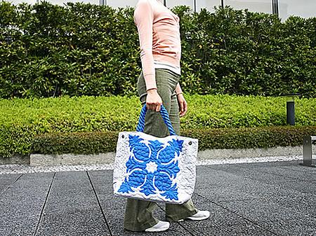 ハワイアンキルトバッグMのサイズイメージ