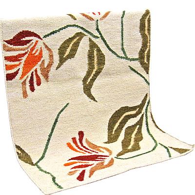 ハワイアン ラグ(平織り) アフリカンチューリップ(ホワイト)丁寧な手織りの刺繍