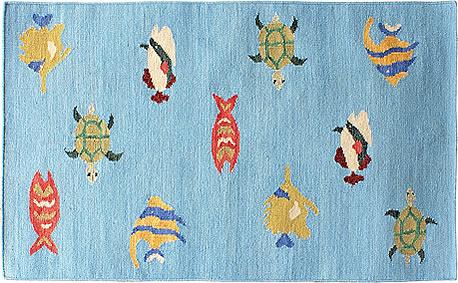ハワイアン ラグ(平織り) フィッシュ&タートル(ブルー)