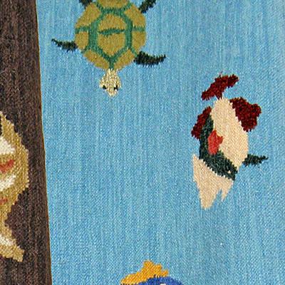 ハワイアン ラグ(平織り) フィッシュ&タートル(ブルー)の生地拡大画像