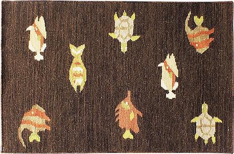 ハワイアン ラグ(平織り) フィッシュ&タートル(ブラウン)