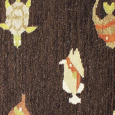 ハワイアン ラグ(平織り) フィッシュ&タートル(ブラウン)の生地拡大画像
