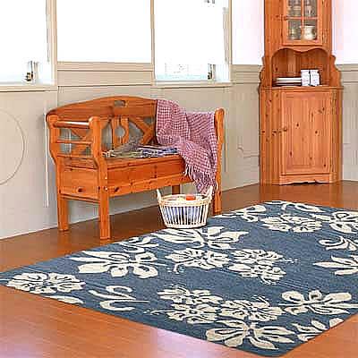 ハワイアン ラグ(平織り) ハイビスカス(マリンブルー)120cm×180cm