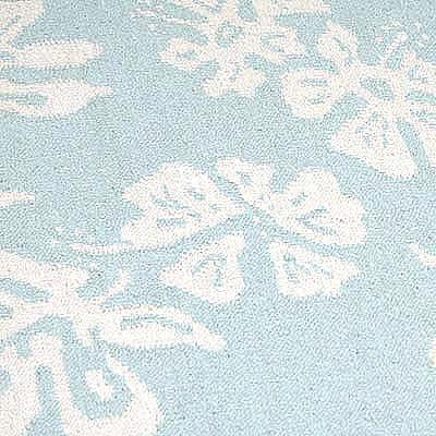 ハワイアン ラグ(平織り) ハイビスカス(スカイブルー)の柄拡大写真
