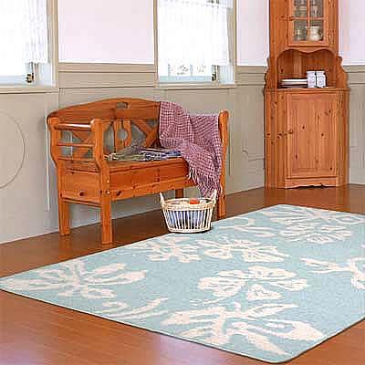 ハワイアン ラグ(平織り) ハイビスカス(スカイブルー)120cm×180cm