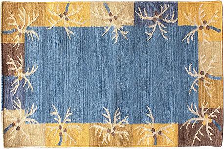 ハワイアン ラグ(平織り) パームリーフ ボーダー(ブルー)の全体写真
