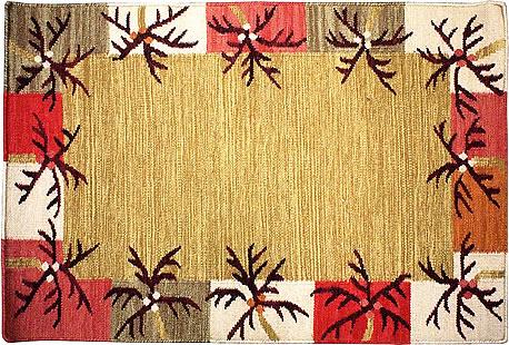 ハワイアン ラグ(平織り) パームリーフ ボーダー(キャメル)の全体写真