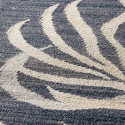 ハワイアン ラグ(平織り) パームリーフ(デニムブルー)の生地拡大画像
