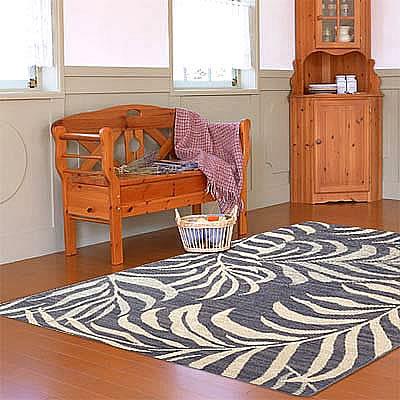 ハワイアン ラグ(平織り) パームリーフ(デニムブルー)120cm×180cm