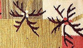 ハワイアン ラグ(平織り) パームリーフ ボーダー(ゴールド)