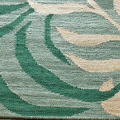 ハワイアン ラグ(平織り) パームリーフ(ミディアムグリーン)の生地拡大画像