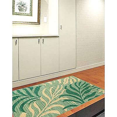 ハワイアン ラグ(平織り) パームリーフ(ミディアムグリーン)78cm×120cm