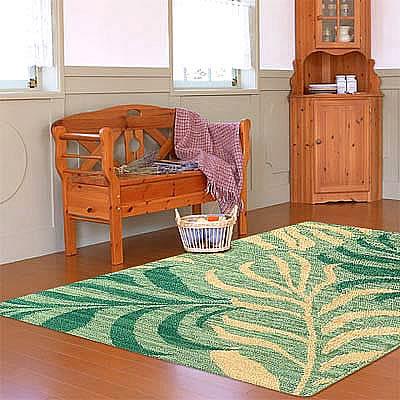 ハワイアン ラグ(平織り) パームリーフ(ミディアムグリーン)120cm×180cm